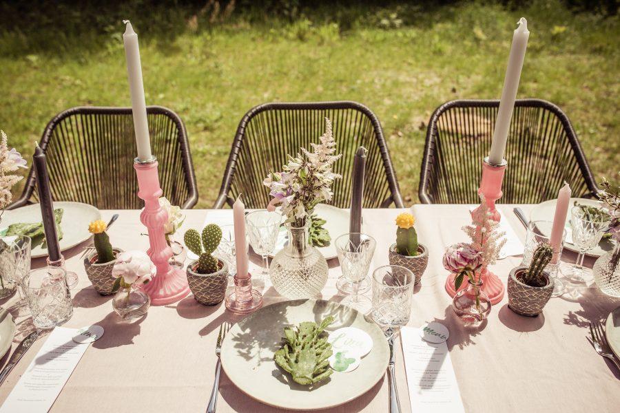 tafelstyling bruiloft cactus