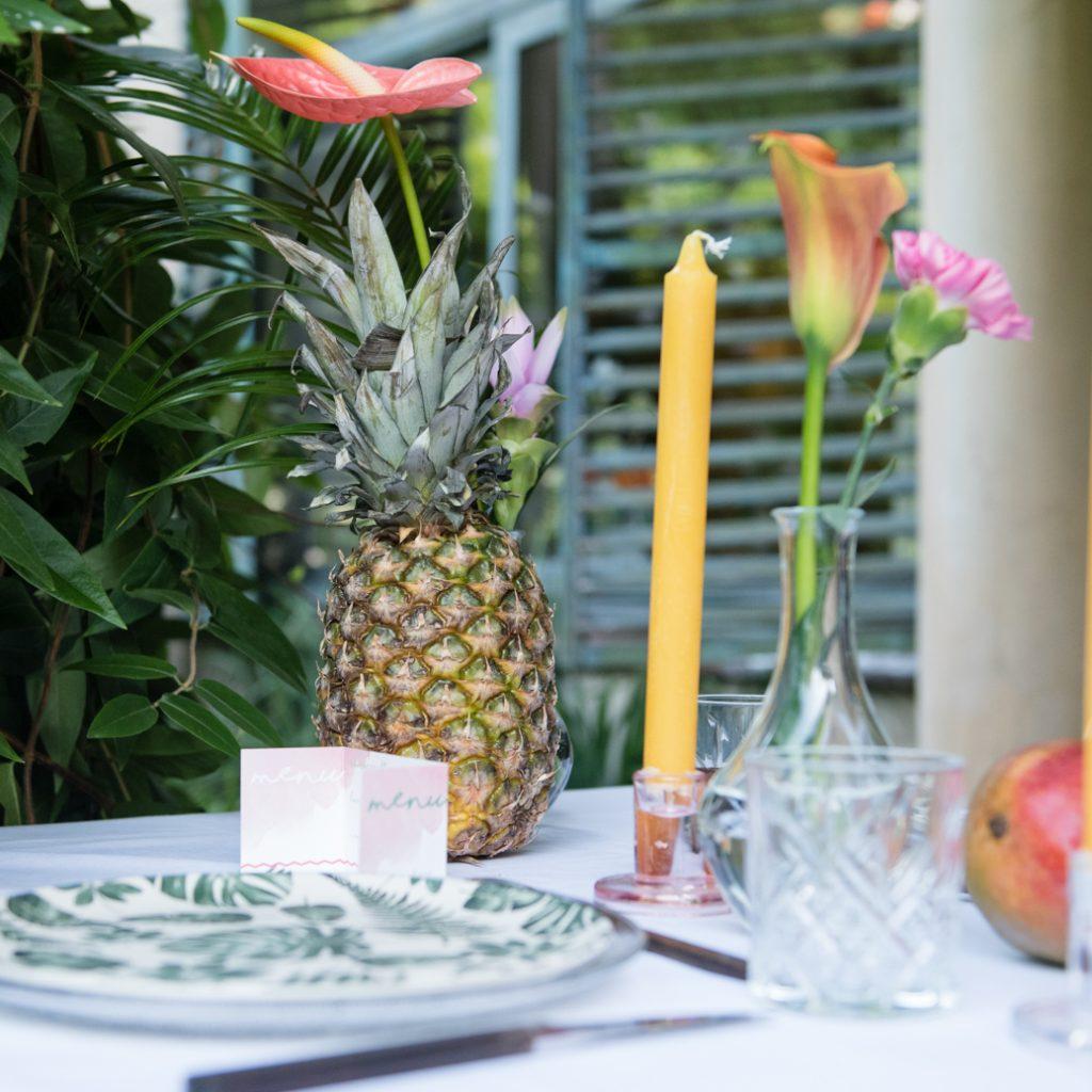 ananas tropische tafel bruiloft