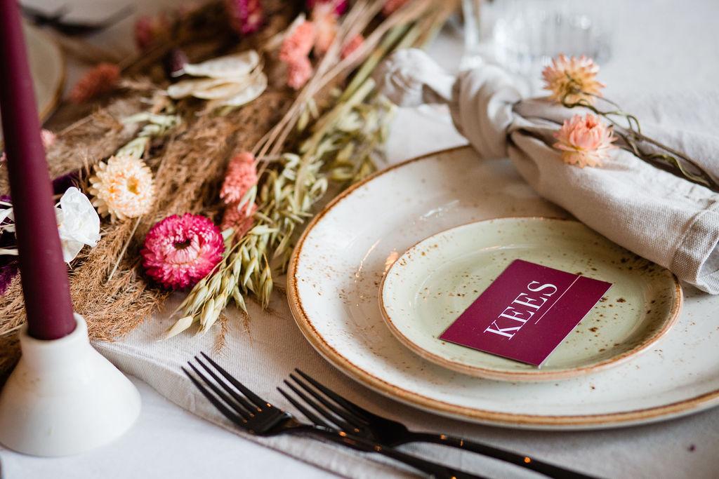 bruiloftsdiner bloemen